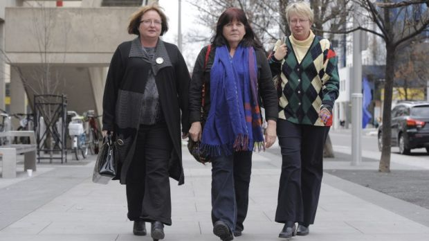 Carolyn Drew, spokeswoman for Animal Liberation ACT, centre, with supporters Debbie Soxsmith, left and her sister Robyn ...