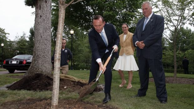 Climate-change-denying Prime Minister Tony Abbott plants a tree at the Australian embassy in Washington with ambassador ...