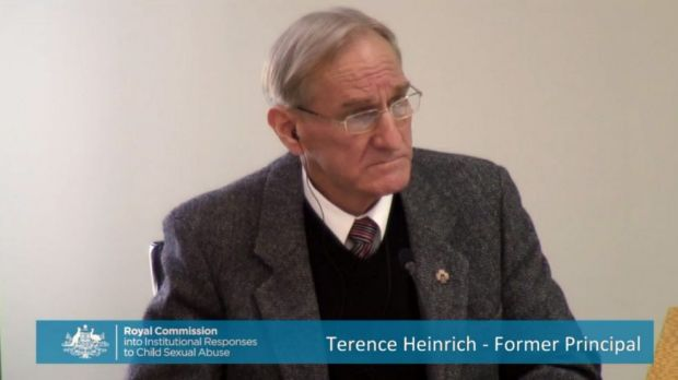 Former Marist College principal Terence Heinrich appears before the Royal Commission into Institutional Responses to ...
