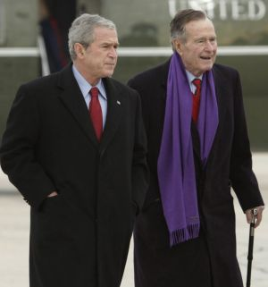 This 2008 photo shows George HW Bush senior to the right with his son, George W Bush in Maryland.