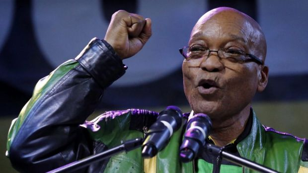 President Jacob Zuma addresses supporters at a victory rally of his ruling African National Congress (ANC) in ...