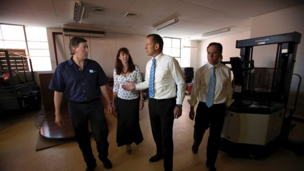 Then Opposition Leader Tony Abbott and Greg Hunt visit Pure Solar, a solar energy company in Fyshwick, in March 2012.