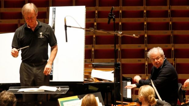 Rehearsing: David Robertson with Emanuel Ax at the Sydney Opera House.