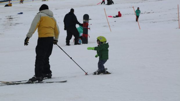 Parents and their kids are among those hitting the slopes this weekend.