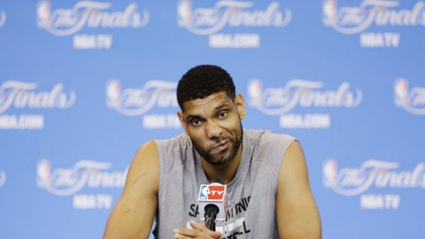 Tim Duncan ponders a question ahead of game five
