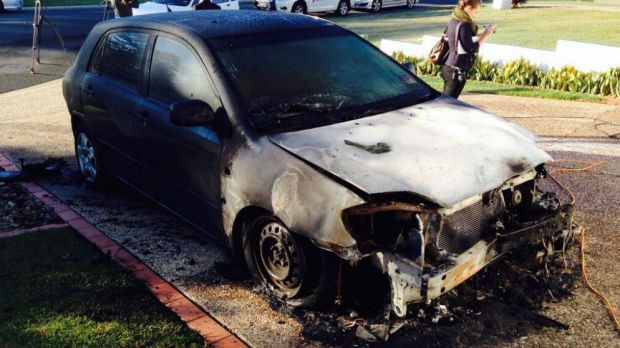 The torched car.
