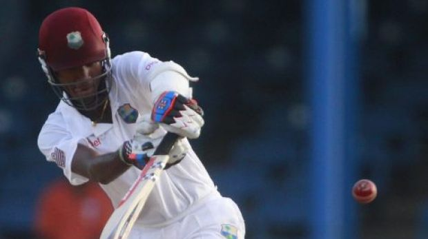 Kraigg Brathwaite hits out during his match-turning ton.