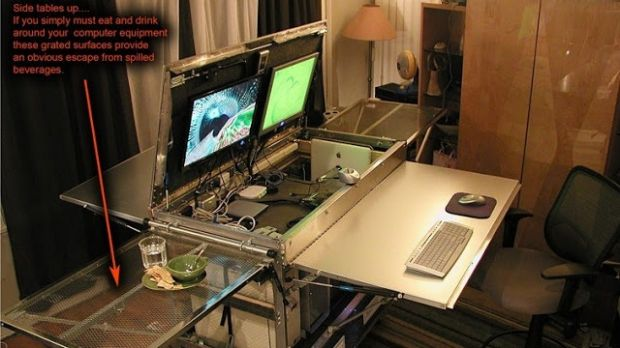 A kitchen table becomes a high-tech work desk.