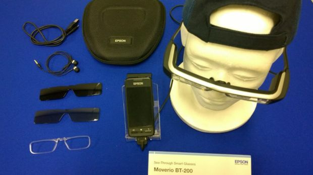 The Moverio BT-200 kit: smart glasses, sun shades, prescription frame, controller, cable, ear phones and case.