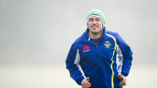 Terry Campese trains on a chilly Canberra morning on Wednesday.