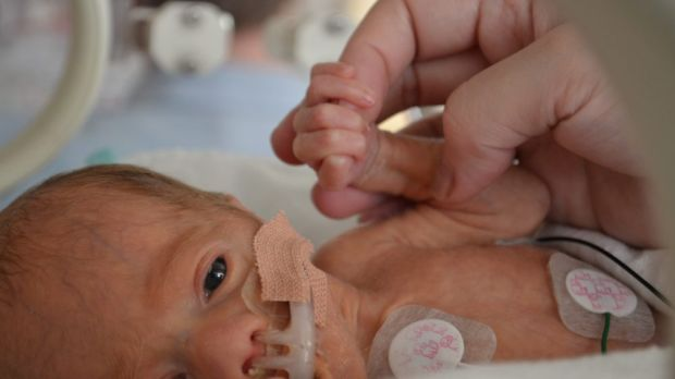 A helping hand: Eugenia Sequeira-Leo's son Levi in the Special Care Nursery at Dandenong Hospital.