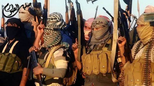 A video image said to show Islamic State of Iraq and the Levant militants near Tikrit.