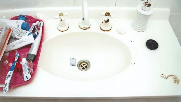 Police found now traces of blood in this bathroom sink at the Baden-Clay house.