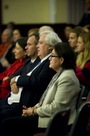 Cathy McGowan and Clive Palmer watch.