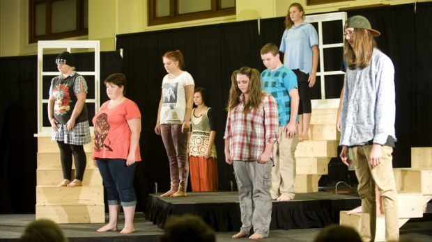 The teens perform MindFields ...  Burns too Bright at Old Parliament House.