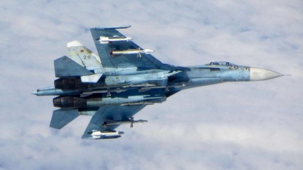 A Russian Sukhoi Su-27 fighter in Baltic airspace.