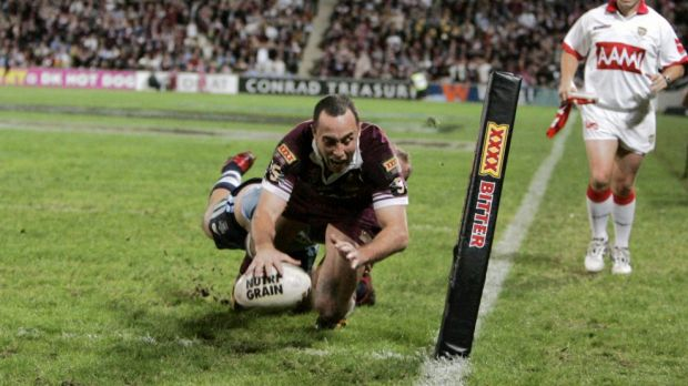 Adam Mogg scores for Queensland during game two of the 2006 State of Origin series at Suncorp Stadium.