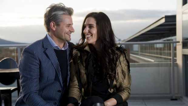 Power couple Clint and Andrea Hutchinson. The pair are wearing clothes from local designers Braddon Tailors and Corr ...