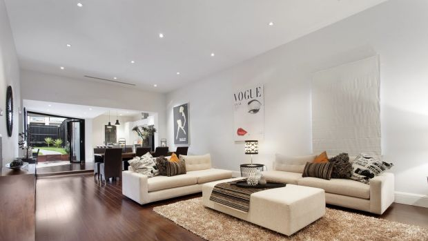 The modern open-plan living/dining area.
