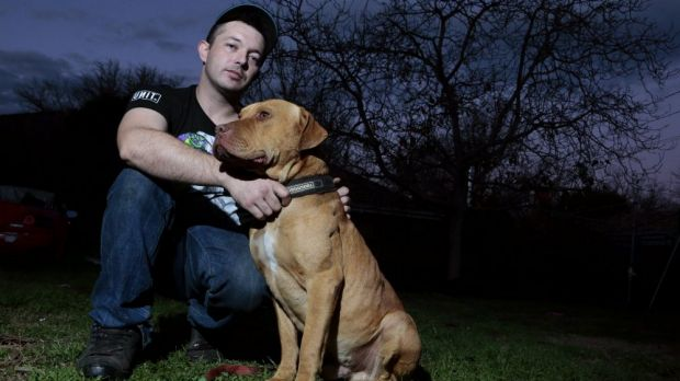 Justen Storay from Griffith with his dog Laps in his backyard, Laps was sprayed with capsicum spray by an ACT police ...