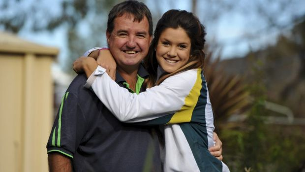 Anna Flanagan, back home in Canberra to celebrate her father Fred's birthday.