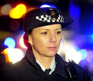 Station Sergeant Joanne Cameron addresses the media outside the Chapman home.