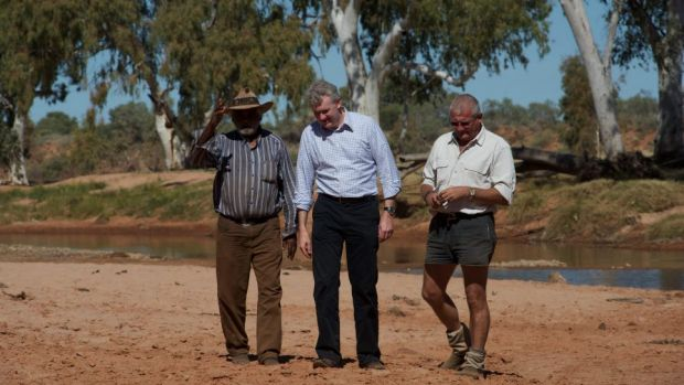 From left: traditional land owner Bruce Breaden, former environment minister Tony Burke, and former RM Williams ...