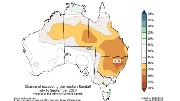 Conditions favour dry conditions for eastern Australia.