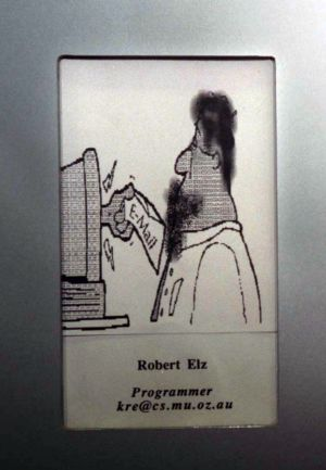 Media shy: Robert Elz's cartoon, instead of a photograph, adorned a staff board at the University of Melbourne in 1996.