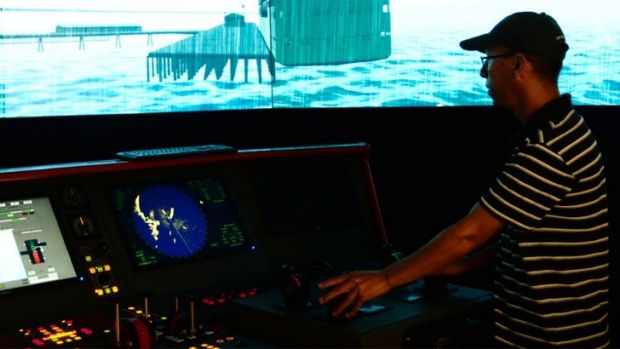 The simulator allows you to experience what it is like to steer a vessel through the sea.