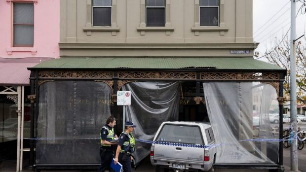 A ute crashed into Paragon Cafe on Rathdowne Street.