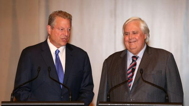 Clive Palmer managed to inveigle former US vice-president Al Gore into sharing a platform with him: Image of a climate ...
