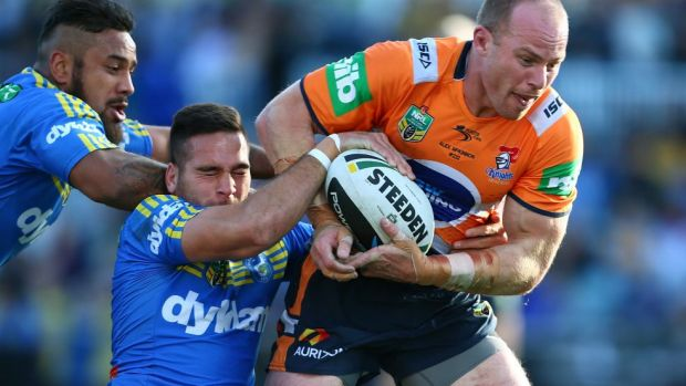 Dogged: Beau Scott in action for the Knights this year.