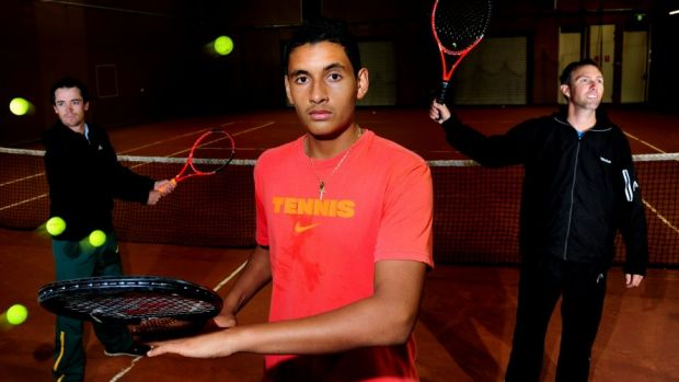Nick Kyrgios has split again with his childhood coach Todd Larkham, right.