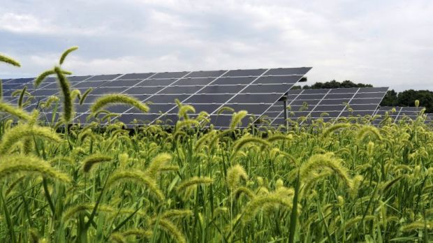 A First Solar farm of more than 26,000 panels in Pennsylvania, USA.