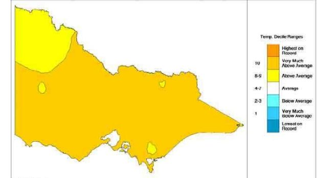 Minimum temperatures on the warm side in Victoria.