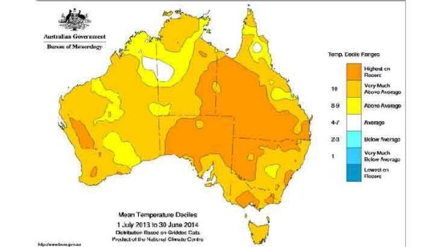 July 2013-June 2014 was a neutral year as far as El Nino goes - but still had record warmth for Australia.