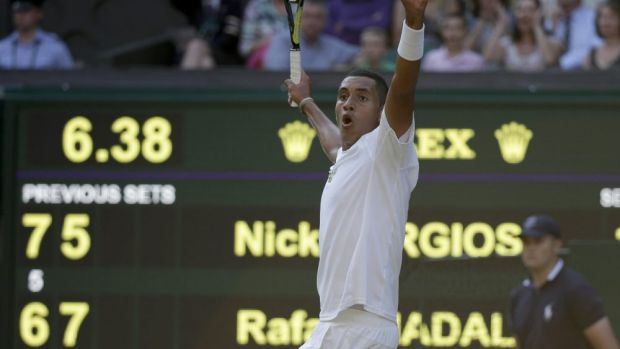 Laver said Kyrgios' stunning 2014 Wimbledon upset of Rafael Nadal appeared to have contributed to outrageous shot ...