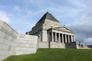 Melbourne's Shrine of Remembrance war memorial, without vertical correction.