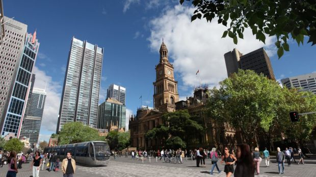 All change: Sydney town hall and George Street.