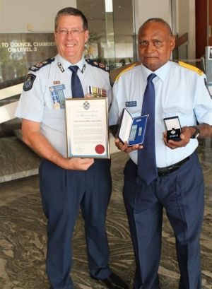 Australia's last official tracker Barry Port with Police Commissioner Ian Stewart.