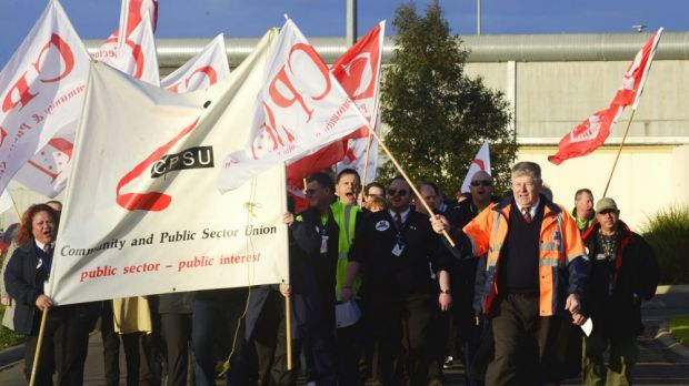 Port Phillip Prison workers striking outside the Laverton prison.
