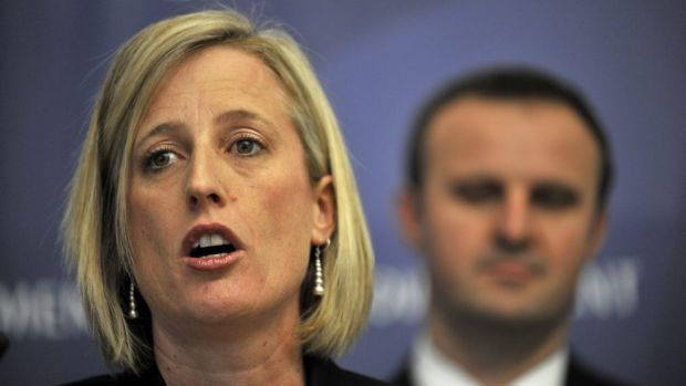 Incumbent: Katy Gallagher's resignation as ACT Chief Minister is set to give Andrew Barr (background) the ACT Labor ...