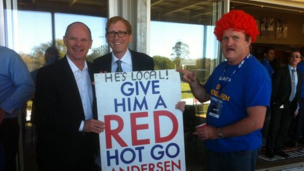 Premier Campbell seeks the redhead vote for LNP candidate Bob Andersen.