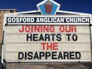 Gosford Anglican Church noticeboard.