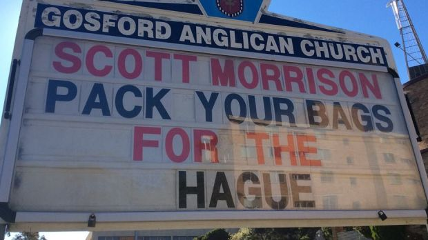 Gosford Anglican Church noticeboard with a message for Scott Morrison