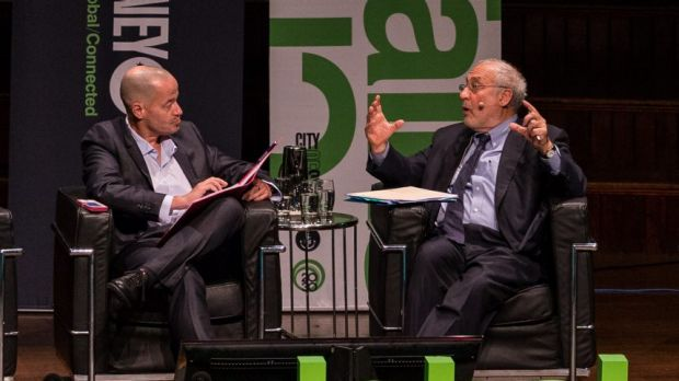 Joseph Stiglitz speaks with Adam Spencer after delivering his address at Sydney Town Hall.