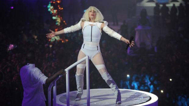 Studied: Lady Gaga performs at artRave in Brooklyn.