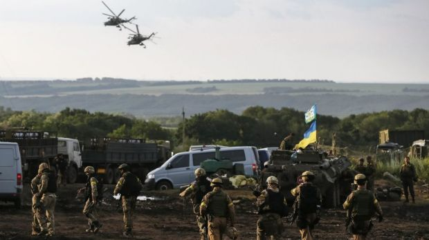 Ukrainian troops at an advance post near Slaviansk on Tuesday.