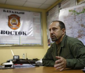 Alexander Khodakovsky, commander of the rebel Vostok battalion, speaks from his office in Donetsk, which is still in ...